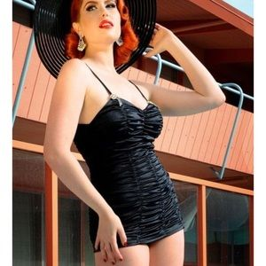 Rare! Pinup Couture Vintage Marilyn Black Swimsuit
